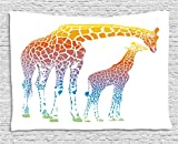 Ambesonne Giraffe Wall Hanging Tapestry, Mom and Kid Giraffe in Rainbow Colors Abstract Art Surrealist Illustration of African Animal, Bedroom Living Room Dorm Decor, 80 W X 60 L Inches, Multi