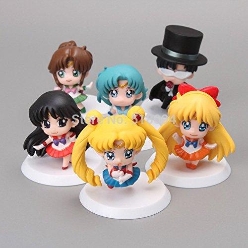 Anime Cartoon Sailor Moon (6cm 6pcs/set) Mars Jupiter Venus Mercury Q Version PVC Action Figure Toys