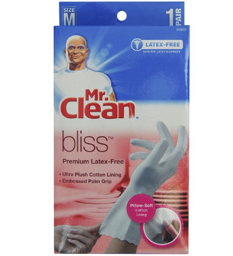 Mr. Clean 243033 Bliss Premium 1-pair Latex-free Gloves, Medium (4 Pack)