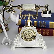European Antique Craft Telephone Rotary Dial Retro Home Landline Caller ID Telephone,White
