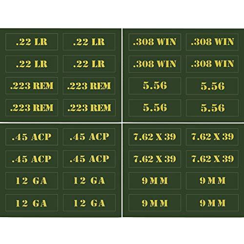 Raiseek .22 .223 .308 .30 .357 9MM .380 .40 .45 5.56 7.62 12GA Ammo Can Vinyl Skin Sticker Decal Molon Label Bullet Variety