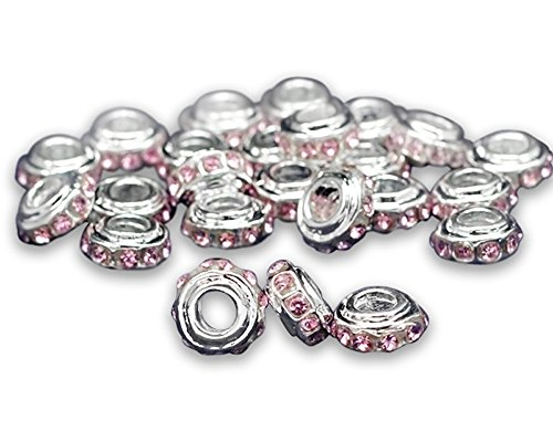 10 Pack Breast Cancer Awareness Pink Crystal Charms (10 Charms in a Bag)]()