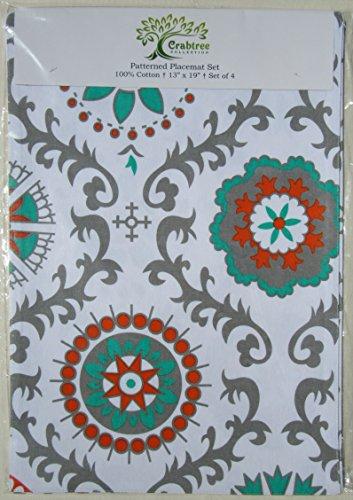 Set Patterned Placemats Decorator Medallion
