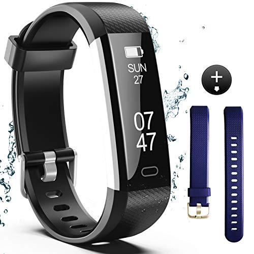 Fitness Tracker, Fitness Watch Include Replacement Band, Activity Tracker Smart Band with Sleep Monitor, Smart Bracelet Pedometer Wristband for Kids, Women and Men-(Black+Blue Band)