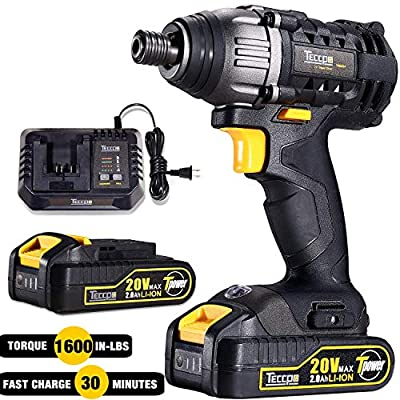 """Impact Driver 20V, TECCPO 180Nm Professional Cordless Impact Driver Kit with 2pcs 2.0Ah Batteries, 30 Minutes Fast Charger, 0-2900RPM Variable Speed, 1/4"""" All-metal Hex Chuck - TDID01P"""