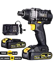 """Cordless Drill with Battery, 20V Max Power Tool Drill Driver Kit 60Nm, 2 2.0Ah Batteries, 24+1 Torque Setting, 2-Speed Adjustment, 1/2"""" Keyless Chuck - For Homeowner, Electricians, Plumbers"""