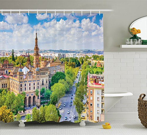 Ambesonne Wanderlust Decor Collection, Seville Spain Cityscape Towards Plaza De Espana Scenery Monument Road Daytime Image, Polyester Fabric Bathroom Shower Curtain Set with Hooks, Green Ivory by Ambesonne
