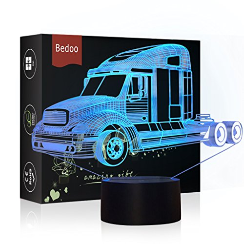 NChance Christmas Gift Magic Truck Lamp 3D Illusion 7 Colours Touch Switch USB Insert LED Light Birthday Pressie by NChance