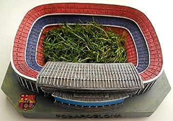 Maqueta del Camp Nou con el césped original del estadio ...