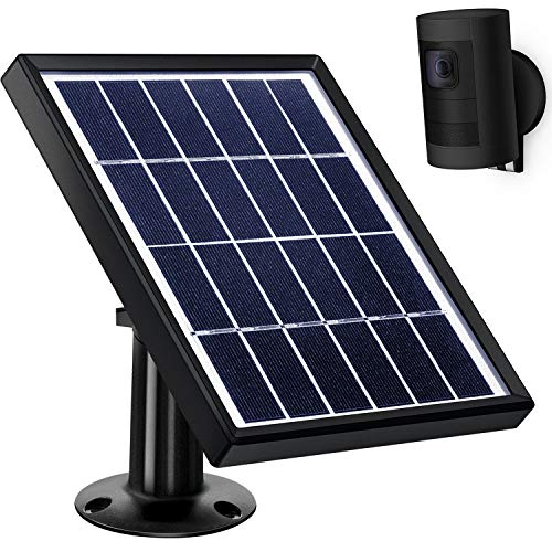 Hotop Solar Panel Compatible with All-New Ring Stick up Cam Battery (Only), Cable with Waterproof DC Connector (12 Feet), 5 V/ 3.5 W Max Output (No Camera Included) (Black)