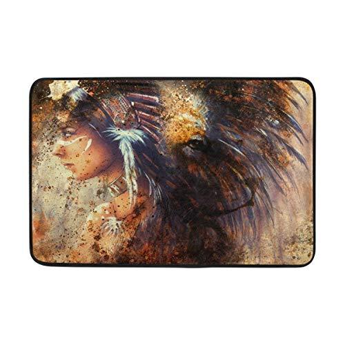 MECIKR Doormat Indian Woman Wearing Feather Headdress with Lion Floor Rug Front Bathroom Non Slip -