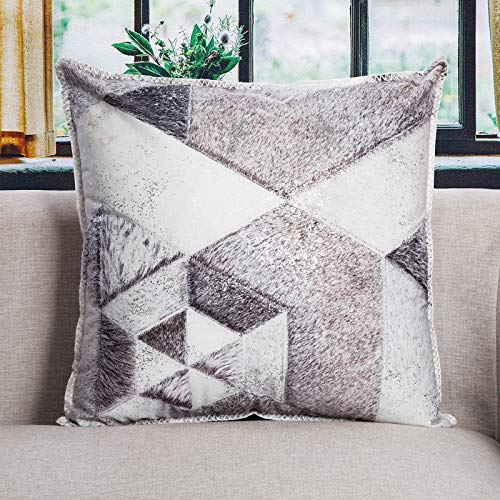 DECOMALL Luxury Faux Fur Leather Decorative Throw Pillow Cover Patchwork Geometric Print Designer Pillow Case 20