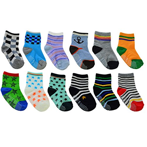 12 Pairs Babys Cute Warm Cotton Socks (Anti-Slip 1 to 3 Years Old), Lystaii Soft Anti Slip Grip Ankle Socks for 12-36 Month Kids Infant Toddler Walker Multiple Color Navy Style Striped Non Skid