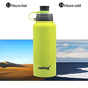 JUNING Stainless Steel Sports Water Bottle Double Wall Vacuum Sealed, 32 oz.