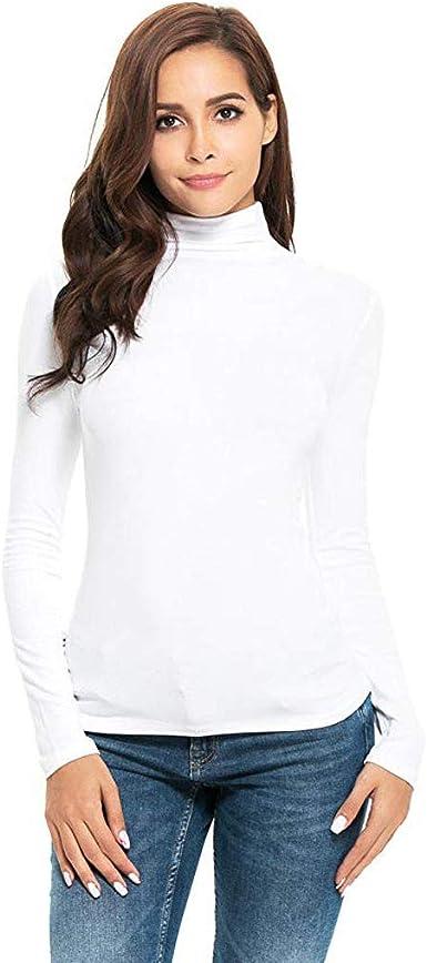 Manga Larga de Las Mujeres Slim Cuello Alto Color sólido cálido y cómodo Camiseta de algodón Camisa de Camisa Camisa de Fondo otoño e Invierno riou: Amazon.es: Ropa y accesorios