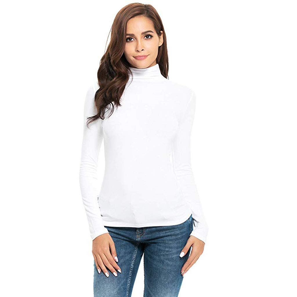 Turtleneck Tee Shirt Women Long Sleeve Solid Slim Fit Perfect Top Sweater (XL, White)