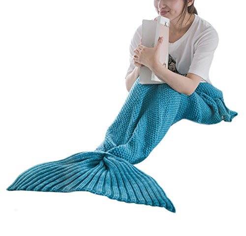 Moxeay Knitted Mermaid Tail Blanket Handmade Living Room Sleeping Blanket (Adults 70.86 x 31.49, Blue)
