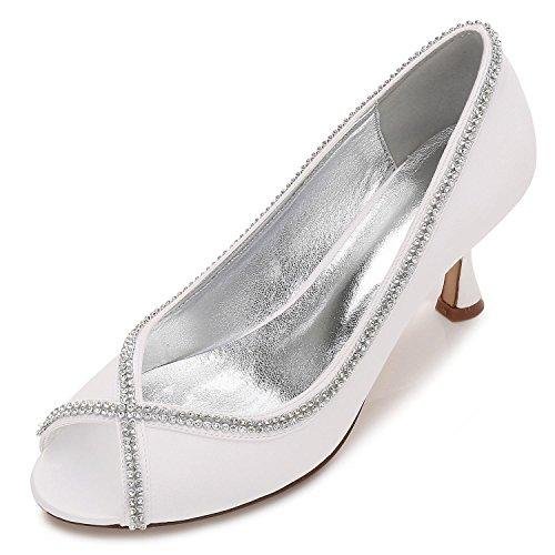 Peep Prom yc L Diamantes por Costura Mujeres Encaje Boda Encargo Ivory Toe Las De Summer Zapatos T1W7Arz1