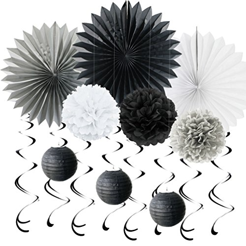 SUNBEAUTY Grey Black White Decoration Kit Tissue Paper Fans Paper Pom Poms Hanging Foil Swirl for Birthday Wedding Home Party Decoration, 10pcs (Black&White&Grey)