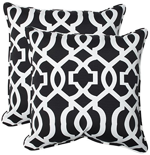 "Pillow Perfect Outdoor/Indoor New Geo Throw Pillows, 18.5"" x 18.5"", Black/White, 2 Pack - Includes two (2) outdoor pillows, resists weather and fading in sunlight; Suitable for indoor and outdoor use Plush Fill - 100-percent polyester fiber filling Edges of outdoor pillows are trimmed with matching fabric and cord to sit perfectly on your outdoor patio furniture - patio, outdoor-throw-pillows, outdoor-decor - 514kwRQ5mtL -"