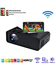 SOTEFE® WiFi Mini Projector Portable 4500 Lumens -WiFi Video Projector 1080P Full HD for iPhone Samsung Smartphone Wireless Projector Home Office Theater Movie TV-Box,HDMI,USB,TF/SD Card,VGA,AV Audio