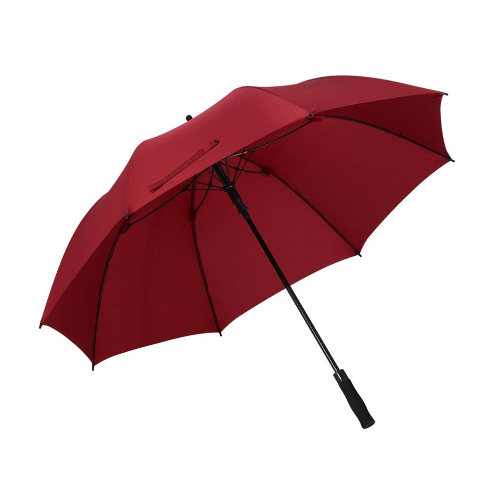 Windproof Umbrella Long Handle Sunny and Rainy Days Dual Use Parasol GW (color   Wine Red, Size   110cm×90cm)