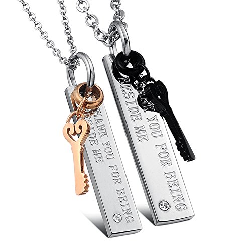 U365 Matching Couples Necklace Titanium Stainless Steel Thank You for Being Beside ME Key to Heart Pendant Set for Men Women with Curb Chains
