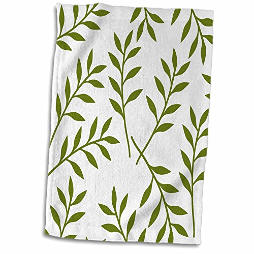 - 3D Rose Olive Green and White Chic Leaves Towel, 15