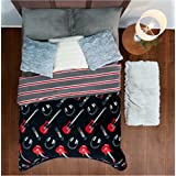 BEST SELLER ROCK GUITAR/STRIPES TEENS BOYS NORDIC BLANKET UNIQUE DESIGN ON EACH SIDE VERY SOFTY AND WARM FULL SIZE