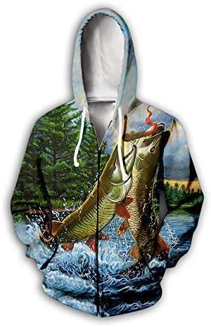 ユニセックスパーカージップ付き男性女性3D魚捕食者プリントプルオーバー長袖カーディガンカップルスウェットユニフォームジャンパー屋外