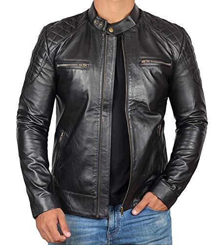 BlingSoul Black Genuine Leather Cafe Racer Jacket for Adults   [1100536] Dover - 2XL