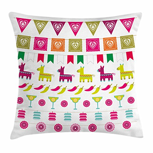 Fiesta Throw Pillow Cushion Cover by Ambesonne, Latin American Motifs Flags Chili Peppers Cocktails Mexican Flag Color Party Pattern, Decorative Square Accent Pillow Case, 36 X 36 Inches, (Pepper Motif)