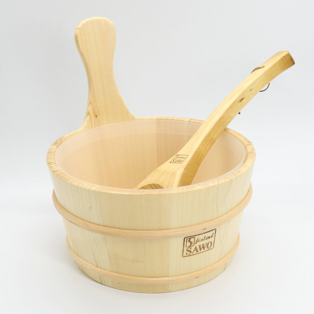 4L Sauna Wooden Bucket Pail Ladle With linner combined Set Sauna Room Accessory MBLUE