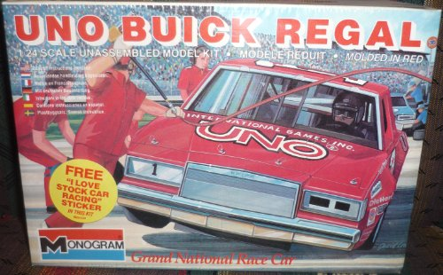 #2205 Monogram Uno Buick Regal Grand National Race Car 1/24 Scale Plastic Model Kit,Needs Assembly (Monogram Grande)