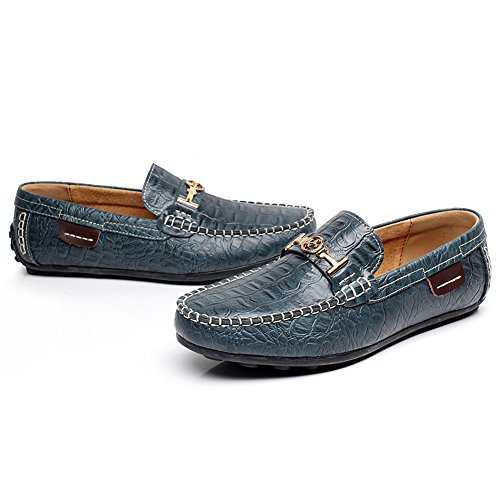 Croco Water Resistant Flats Shoes Driving Lining Loafer Mens Stylish End rismart Navy High Leather Stamping Warm wR1qf