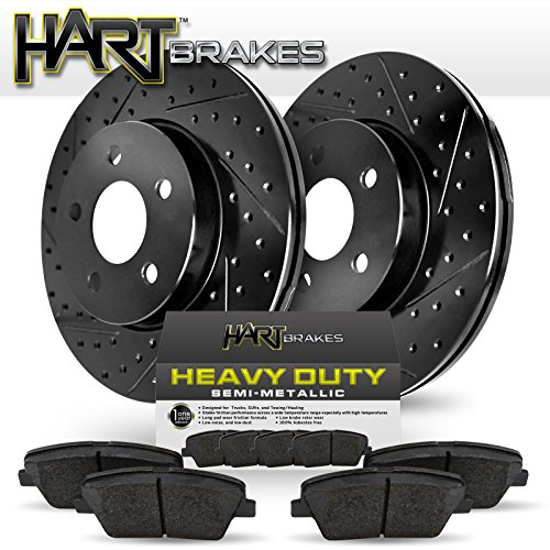 [FRONT] BLACK HART DRILL/SLOT DISC BRAKE ROTORS AND HEAVY DUTY PAD BHCF.6608102 Cadillac Heavy Duty Brake Pad