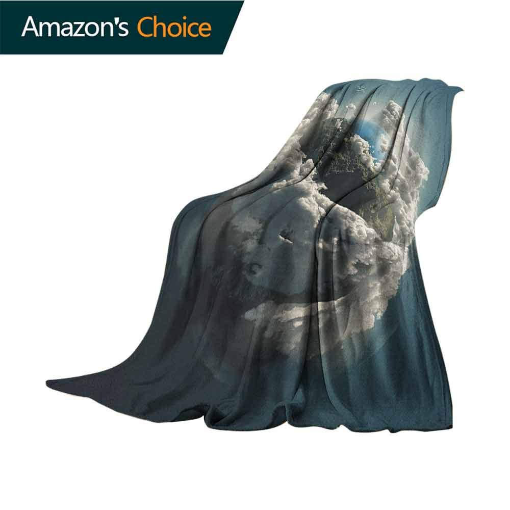 Earth Fur Blanket,Planet Surrounded by Majestic Clouds Dramatic Aerial View Earth Environment Lightweight Microfiber,All Season for Couch or Bed,60'' Wx70 L Petrol Blue White