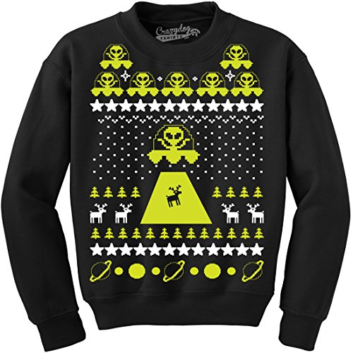 Crazy Dog Tshirts Unisex Alien Abduction Ugly Christmas Sweater Crew Neck Sweatshirt -L Cool Christmas Sweaters