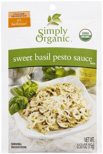 Simply Organic Sweet Basil Pesto, Seasoning Mix, Certified, 0.53 oz, 12 Pack (Organic Pesto)