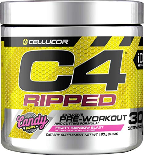 Cellucor C4 Ripped Pre Workout Powder, Thermogenic Fat Burner & Metabolism Booster for Men & Women with Green Coffee Bean Extract, Fruity Rainbow Blast, 30 Servings