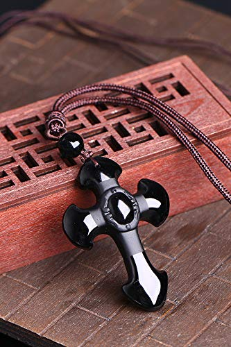 Obsidian Cross Necklace Pendant Jade Men Women Frosted Counter (with Brown Cotton Cord