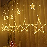 Twinkle Star 12 Stars 138 LED Curtain String Lights, Window Curtain Lights with 8 Flashing Modes Decoration for Christmas, Wedding, Party, Home Decorations (Warm White)