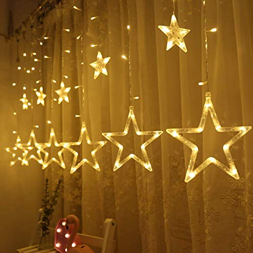 - Twinkle Star 12 Stars 138 LED Curtain String Lights, Window Curtain Lights with 8 Flashing Modes Decoration for Christmas, Wedding, Party, Home, Patio Lawn, Warm White