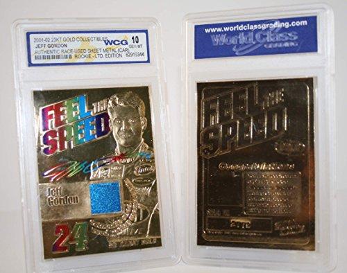 (JEFF GORDON 2001 Race Used ROOKIE Feel Speed 23KT Gold Card GEM MINT)