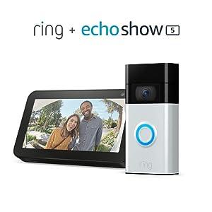 Ring Video Doorbell (Satin Nickel) bundle with Echo Show 5 (Charcoal)
