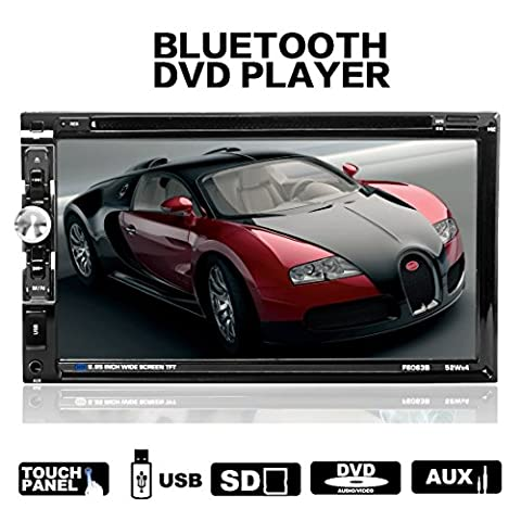 LSLYA(TM) Steering Wheel Control 2 din HD In dash Car stereo DVD CD MP5 MP4 MP3 Player Radio Video Audio Bluetooth 6.95 Inch Touch Screen SD,USB,Radio,FM support with remote (Radios De Dvd)
