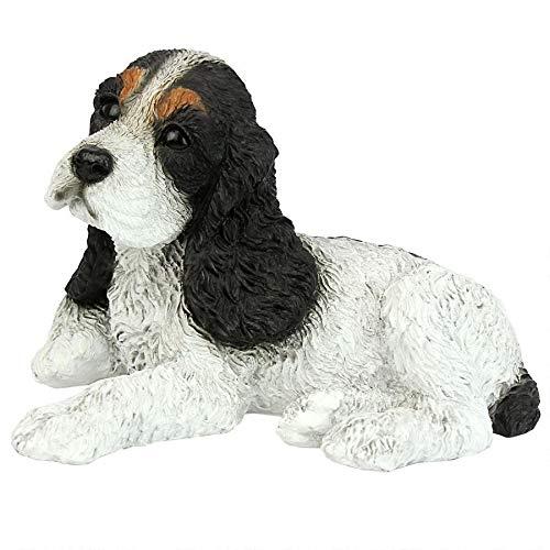 Design Toscano Black and White Cocker Spaniel Puppy Dog Statue, Multicolored