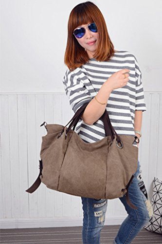 Canvas Large Womens Tote Shopper Travel Capacity Hobo Bag ZKOO Handbags Brown Shoulder Bags gZwngd