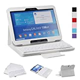 NEWSTYLE Samsung Galaxy Tab 4 10.1 SM-T530 Bluetooth Keyboard Case Cover - Folio Slim PU Leather Case with Magnetically Detachable Wireless Removable Bluetooth Keyboard - White Color