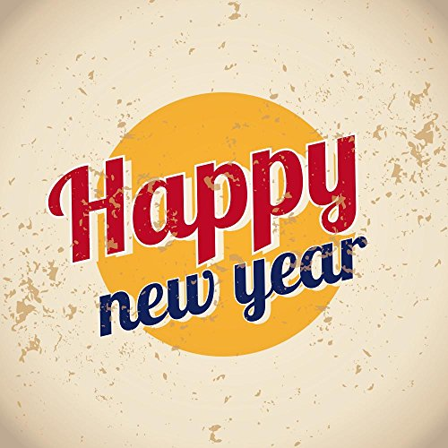 Happy New Year Vintage Wall Decal - 18 Inches H x 18 Inches W - Peel and Stick Removable Graphic